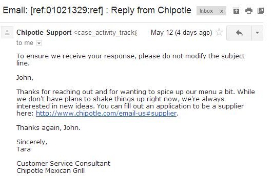 chipotle reply